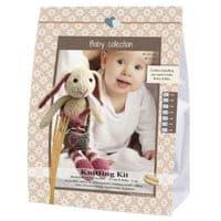 Go Handmade Knitting Kit BABY BUNNY MAGNUS & BEBS - Pink & Walnut